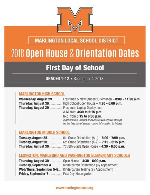 Open House & Orientation Dates