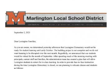 Lexington Elementary Start of School Year Plan