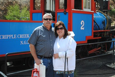 Cripple Creek Railroad, Colorado with my husband.