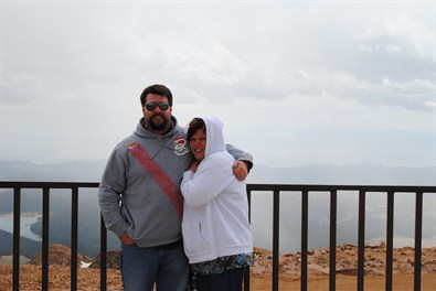 Top of Pike's Peak with our son Logan.